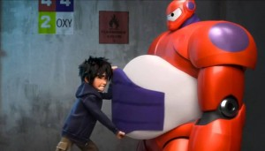 Hiro fa indossare l'armatura a Baymax
