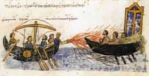 Fuoco greco lanciato dai Bizantini su navi nemiche
