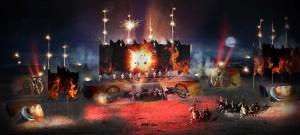 Luci e giochi pirotecnici sul campo di battaglia