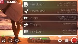 Controlli della app FiLMiC Pro