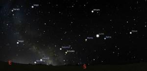 Simulazione cielo notturno con allineamento