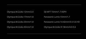 Lista obiettivi M4/3 compatibili XS5