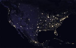 Mappa luci Stati Uniti