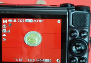 Canon SX730 HS info scatto su display