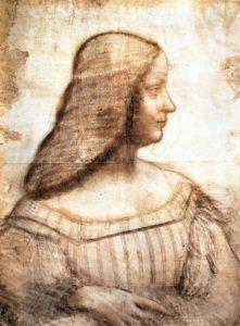 Leonardo da Vinci, Ritratto d'Isabella d'Este (1499-1500), sanguigna e carboncino 61 x 46 cm, Louvre, Parigi