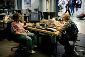 Halliday con Morrow gli attori Mark Rylance e Simon Pegg