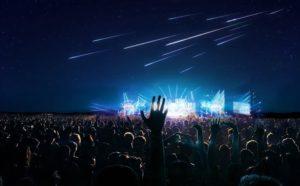 Stelle cadenti durante un concerto (rendering)