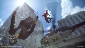 Spider-Man 2018 acrobazia con ragnatela