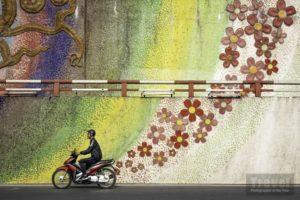 Motociclista ad Hanoi con sfondo di fiori dipinti su muro di Paul Sansome