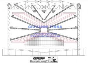 Sezione tetto con V palco e passerella