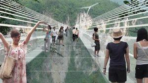 Rendering progettazione ponte di cristallo