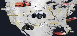 The Crew 2 mappa con alcuni veicoli