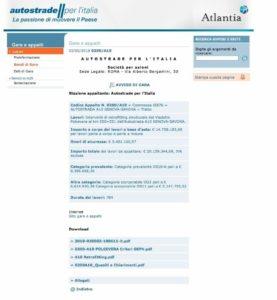 Pagina web gare ed Appalti Autostrade