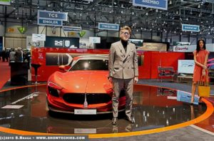 Umberto Palermo con Almas a Ginevra Motor Show stand Mole