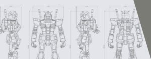 Bozzetto tecnico con misure Gundam robot 18 metri