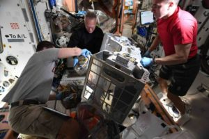 Robert Behnken, Doug Hurley e Chris Cassidy preparano l'installazione RiTS