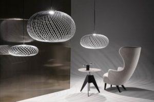 Spring lampade a sospensione in acciaio color argento