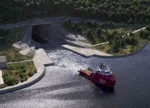 Entrata Tunnel Stad per grandi navi, disegno di Snøhett