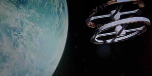 Immagine dipinta che riproduce l'astronave di Kubrick